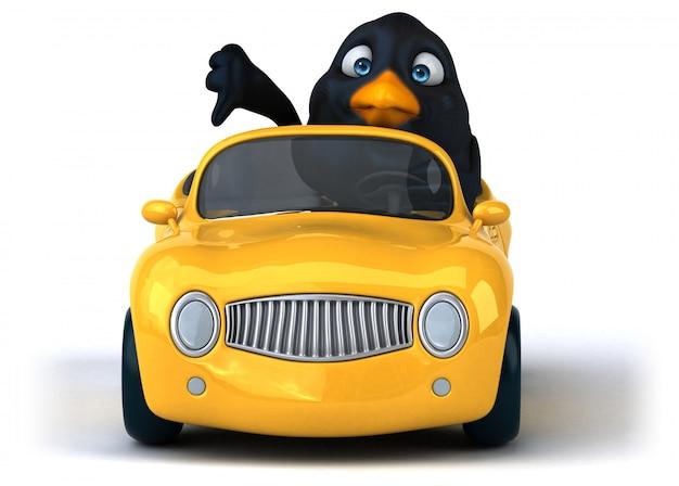 Lustiger schwarzer vogel 3d, der ein auto fährt, das daumen nach unten zeigt