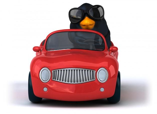 Lustiger schwarzer vogel 3d, der ein auto fährt