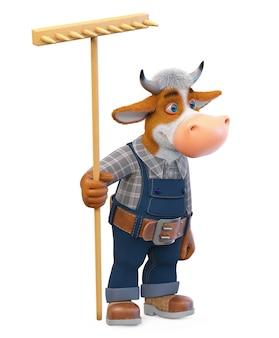 Lustiger stier der illustration 3d ist ein landwirt, der in der landwirtschaft tätig ist