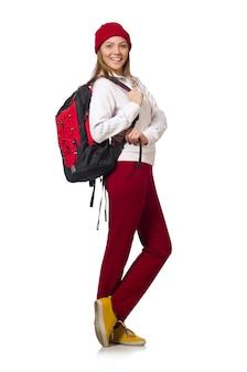 Lustiger student mit dem rucksack lokalisiert auf weiß