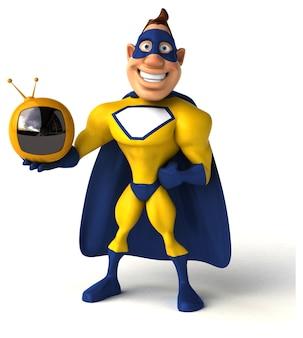 Lustiger superheld, der einen kleinen fernseher hält