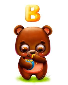 Lustiger teddybär der karikatur mit honig und buchstaben des alphabets