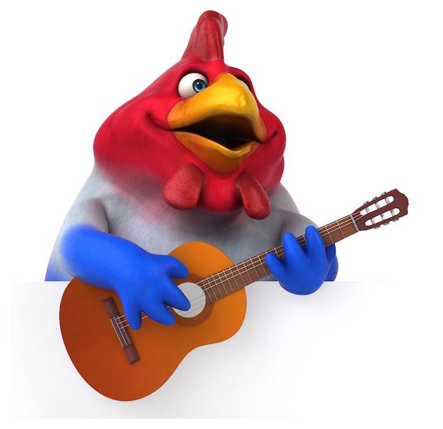 Lustiges 3d huhn, das die gitarre spielt