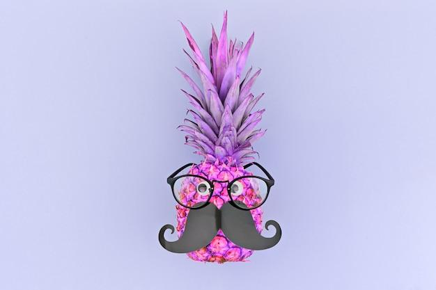 Lustiges ananasgesicht mit schnurrbart und brille in trendigen neonfarben