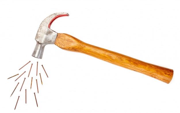 Lustiges bild des hammers und einiger punkte. isoliert.