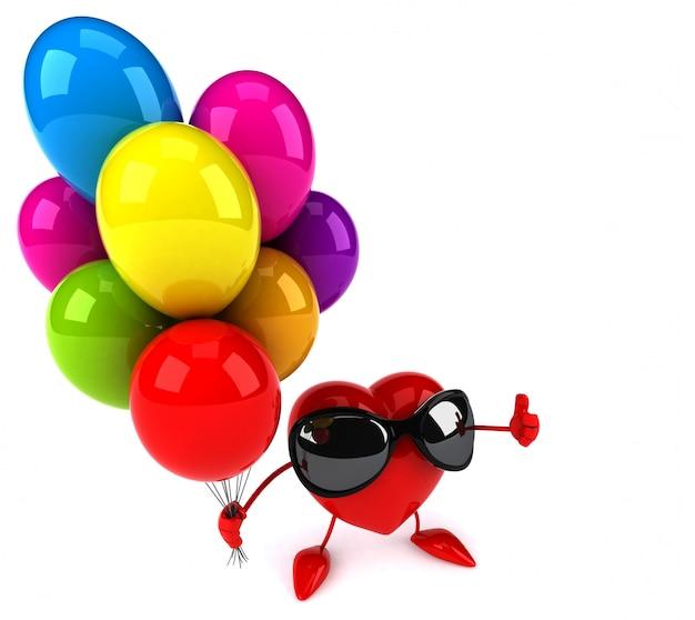 Lustiges illustriertes herz, das luftballons hält