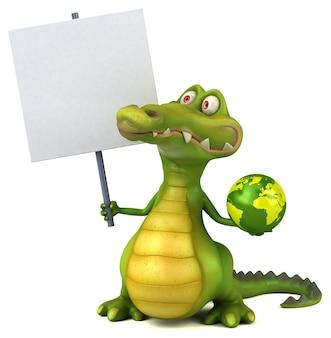 Lustiges illustriertes krokodil, das ein plakat hält