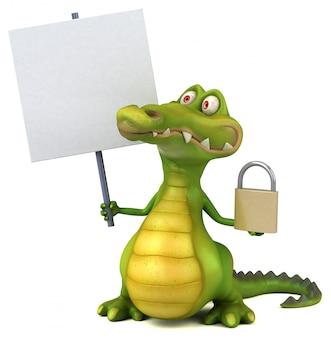 Lustiges illustriertes krokodil mit plakat und schloss