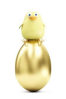 Lustiges kleines huhn der karikatur, das auf großem goldenen ei sitzt