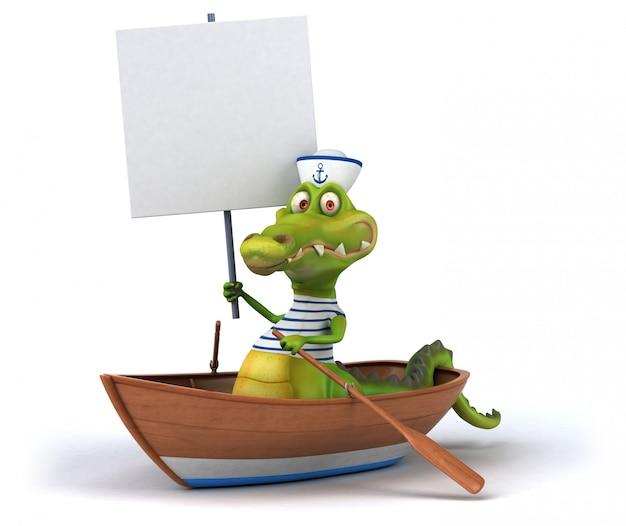 Lustiges lustiges illustriertes krokodil in einem boot mit einem plakat