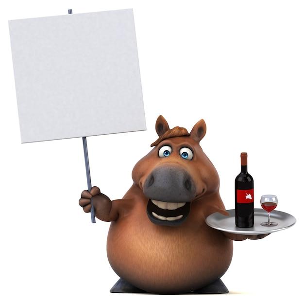 Lustiges pferd - 3d-illustration
