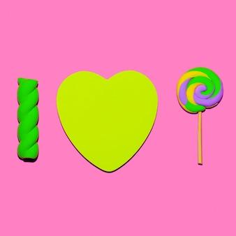 Lutscher und marshmallows. candy mood flatlay art