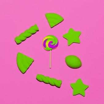 Lutscher und süßigkeiten. minimal. candy bunte stimmung flatlay art