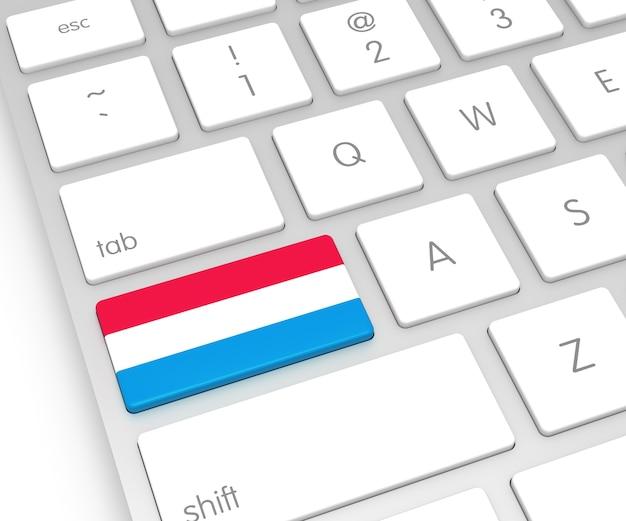 Luxemburg-flagge auf computerschlüssel. 3d-rendering