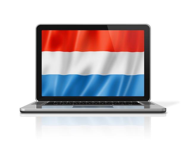 Luxemburg-flagge auf laptop-bildschirm isoliert auf weiss. 3d-darstellung rendern.