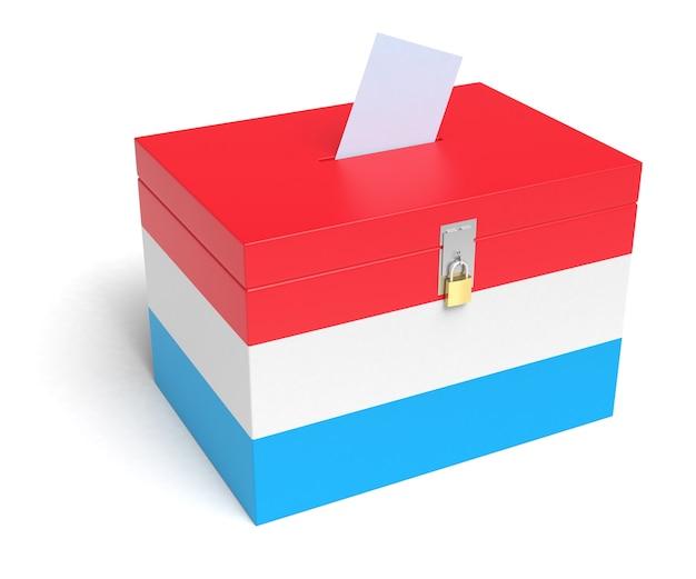 Luxemburger wahlurne mit luxemburger flagge. isoliert auf weißem hintergrund.