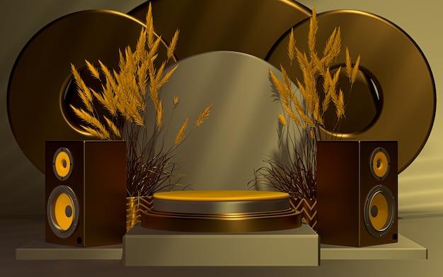 Luxuriöse 3d-podiumsanzeige mit soundbox-leerraumhintergrund 3d-rendering