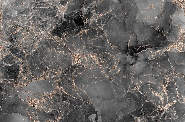 Luxuriöse abstrakte hintergrund-alkohol-tinten-technik schwarz und gold. flüssige kunstmalerei. aquarell-alkohol-tintenspritzer, flüssige fließtexturfarbe, digitales papierkunstmuster, tapete.
