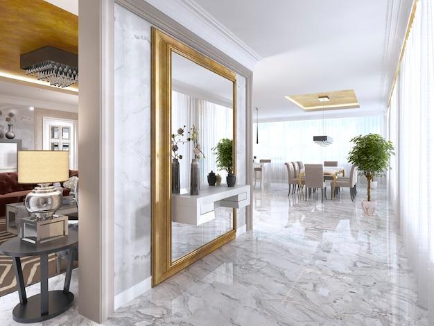 Luxuriöse art-deco-eingangshalle mit großem designerspiegel in goldrahmen und eingebautem konsolendekor. 3d-rendering.
