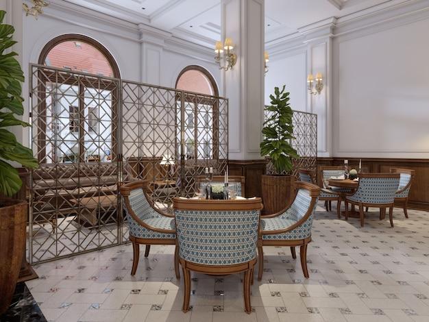 Luxuriöse bar mit tischen und stühlen im klassischen interieur eines fünf-sterne-hotels. 3d-rendering.