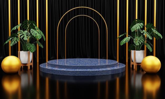 Luxuriöse blaue marmorkreis-, block-, quadratische podiumwürfelgrünblätter im schwarzen marmorhintergrund