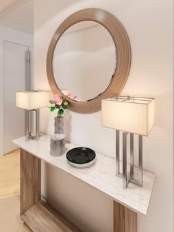 Luxuriöse eingangshalle im modernen stil mit schlüsseltisch und spiegel. 3d-rendering