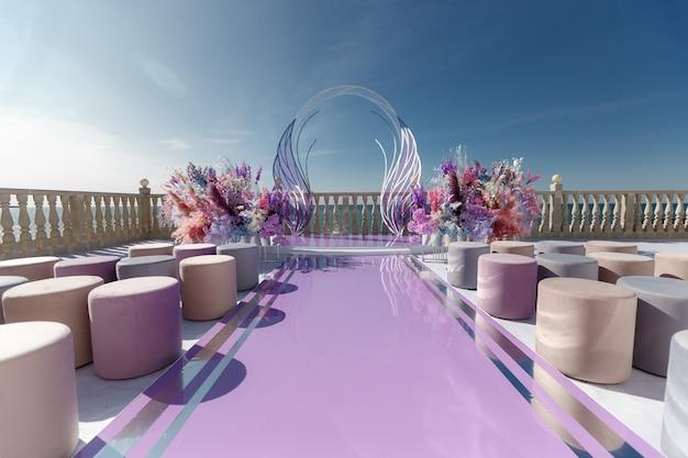 Luxuriöse hochzeitszeremonie im modernen stil auf dem hintergrund des ozeans.
