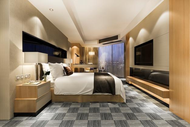 Luxuriöse klassische moderne schlafzimmersuite im hotel