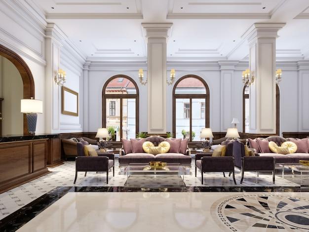 Luxuriöse klassische möbel im art-deco-stil, weiches lila sofa und sessel mit schwarzen metallbeinen und ein couchtisch aus glas in einem klassischen interieur. 3d-rendering.