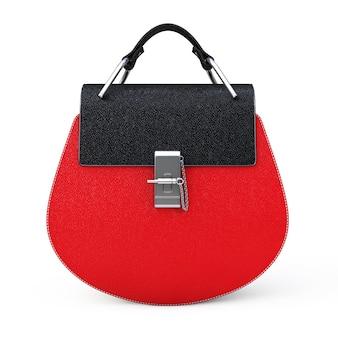 Luxuriöse rote leder-frauen-tasche auf weißem hintergrund. 3d-rendering
