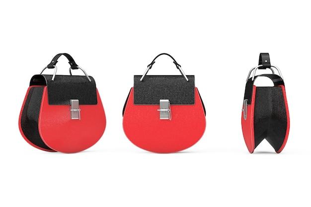 Luxuriöse rote leder-frauen-taschen auf weißem hintergrund. 3d-rendering