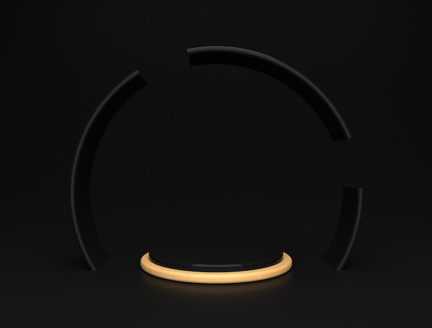Luxuriöse schwarz-goldene bühnenplattform, elegante zylinderform der produktanzeige.