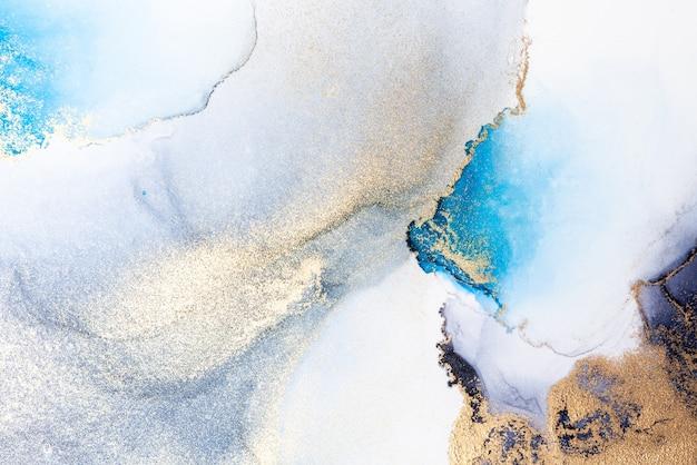 Luxuriöser blauer abstrakter hintergrund der flüssigen marmortintenkunstmalerei auf papier.
