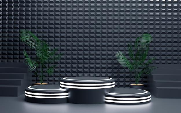 Luxuriöser blauer geometrischer hintergrund mit einem dreistufigen neonlicht-podium für produktpräsentationen. 3d-rendering.