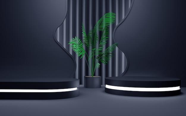 Luxuriöser blauer geometrischer hintergrund mit einem zweistufigen neonlichtpodium für produktpräsentationen. 3d-rendering.
