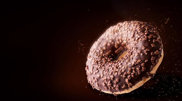 Luxuriöser donut auf einem dunklen hintergrund mit platz für text