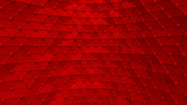Luxuriöser eleganter roter hintergrund mit dreiecken und kristallen. 3d-illustration