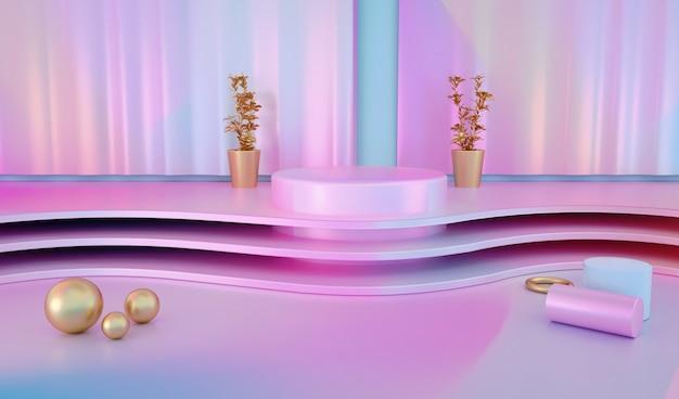 Luxuriöser geometrischer hintergrund mit sockel für modellanzeige