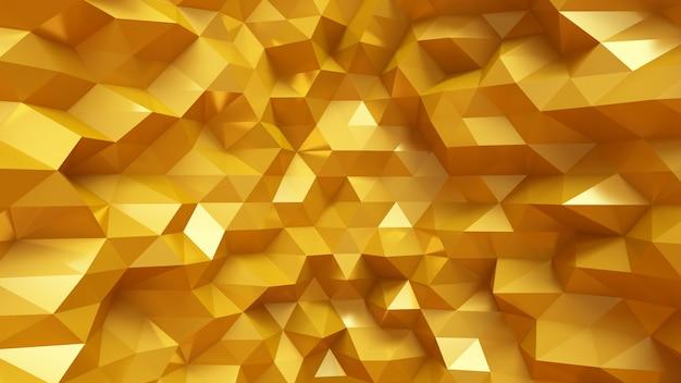 Luxuriöser goldener hintergrund mit dreiecken und kristallen. 3d-illustration