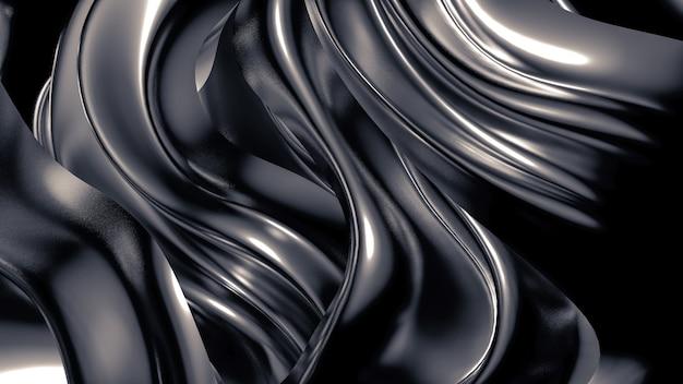 Luxuriöser grauer hintergrund mit falten, vorhängen und strudeln. 3d-illustration, 3d-rendering.