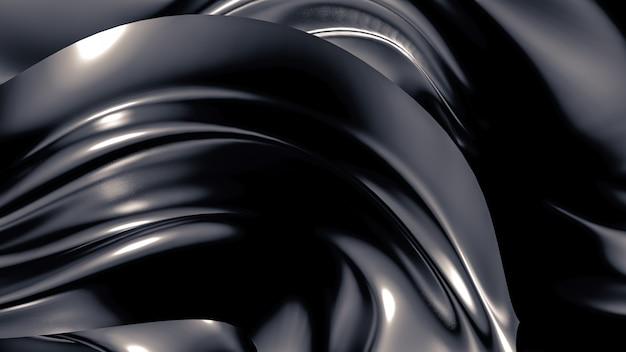 Luxuriöser grauer hintergrund mit falten, vorhängen und strudeln. 3d-rendering.
