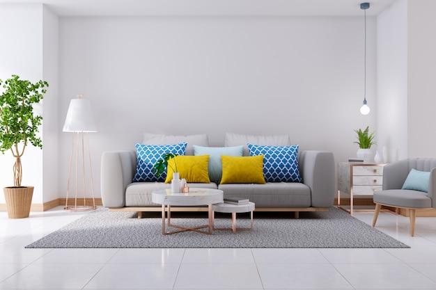 Luxuriöser moderner innenraum des wohnzimmers, des grauen sofas auf weißem bodenbelag und der weißen wand, wiedergabe 3d
