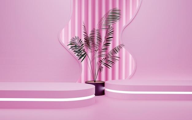 Luxuriöser rosa geometrischer hintergrund mit einem zweistufigen neonlicht-podium für produktpräsentationen. 3d-rendering.