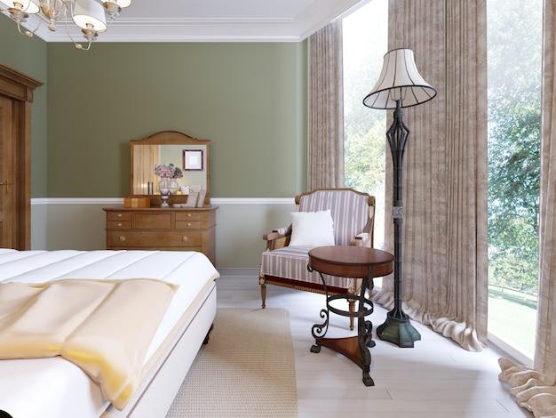 Luxuriöser sessel in einem schlafzimmer mit holz- und weichen elementen im klassischen stil. 3d-rendering.