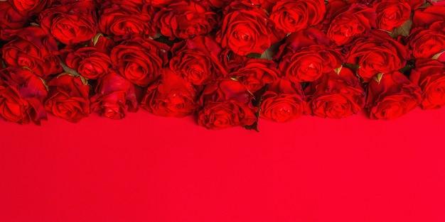 Luxuriöser strauß frischer roter rosen. das festliche konzept für hochzeiten, geburtstage, 8. märz, mutter- oder valentinstag. grußkarte, roter matter hintergrund, banner