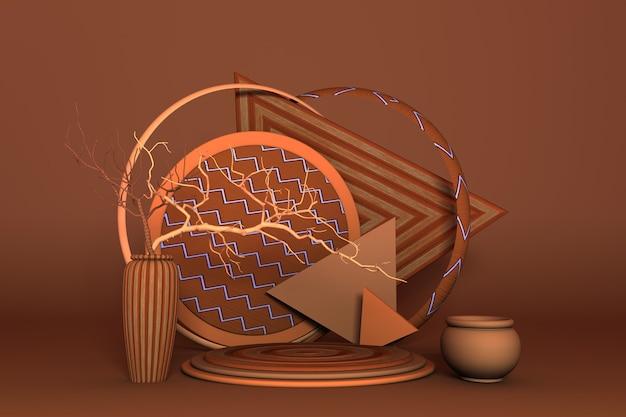 Luxuriöses 3d-rundpodium mit vase und orangefarbenen trockenzweigen im herbstthemahintergrund