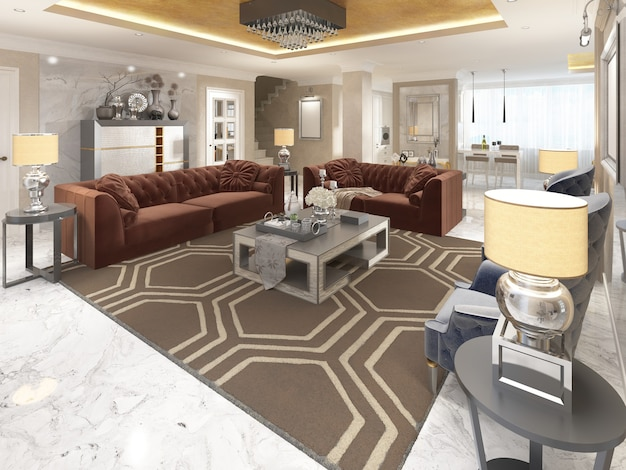 Luxuriöses designer-apartment-studio im art-deco-stil. wohnbereich, der sich nahtlos in esszimmer und küche einfügt. die goldene decke und der weiße marmorboden. 3d-rendering.