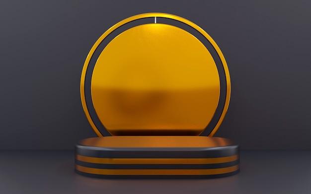 Luxuriöses geometrisches podium in blau und bronze für produktpräsentationen. 3d-rendering. dunkler hintergrund.