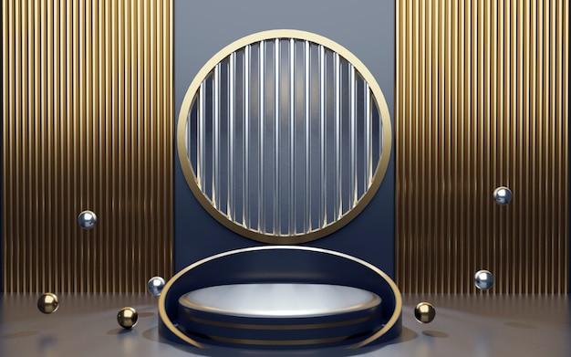 Luxuriöses geometrisches podium in blau und gold für produktpräsentationen. 3d-rendering. dunkler hintergrund.