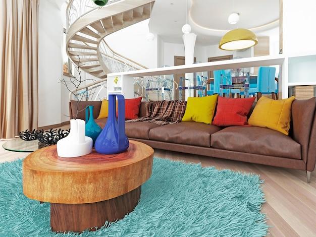 Luxuriöses großes wohnzimmer im kitschstil mit großem braunem ledersofa